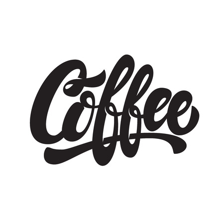 Coffee. Lettering phrase isolated on white background. Design element for emblem, sign, poster, flyer, banner. Vector image Ilustração