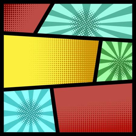 Empty comic page mockup with color background. Design element for poster, card, print, banner, flyer. Vector illustration Ilustração