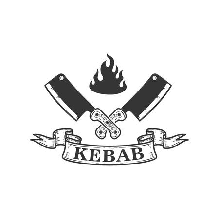 Kebab. Emblem template with crossed meat cleaver. Design element for emblem, sign, poster, flyer, banner. Vector image