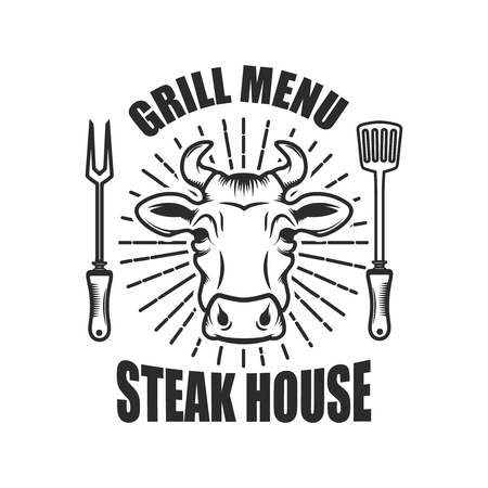 Steakhouse. Emblem template with cow head and kitchen tools. Vector illustration