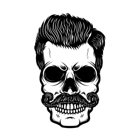 Hipster skull with hairstyle. Design element for poster, print, emblem, sign, banner, label. Vector illustration