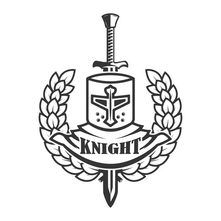 Emblem template with retro style knight helmet. Design element for logo, label, sign. Vector image