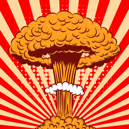 Nuclear explosion in cartoon style on comic background. Design element for poster, card, banner, flyer. Vector illustration
