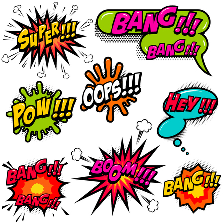 Comic speech bubbles burst the boom, wow, hey, ok, omg, crash. For poster, card, banner, flyer. Vector image