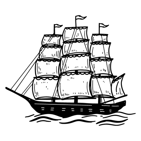 Illustration of vintage sea ship. Design element for poster, card, emblem, sign, banner. Vector image 일러스트