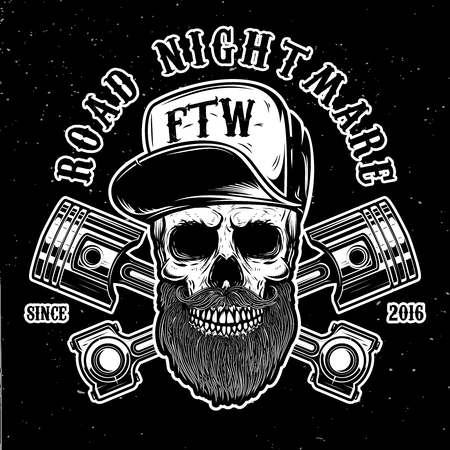 Road nightmare. Hipster skull in baseball cap with crossed pistons. Design element for logo, label, emblem, sign, poster, t shirt. Vector image Illustration