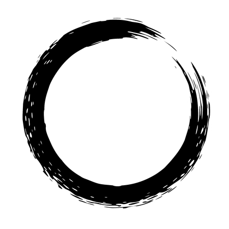 Black brush strokes in the form of a circle. Design element for poster, card, sign, banner. Vector illustration