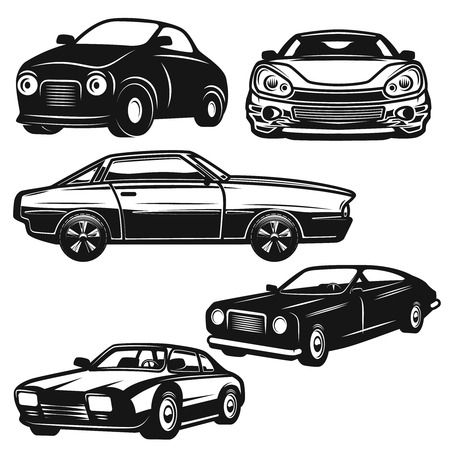 Set of retro car illustrations on white background. Design element for logo, label, emblem, sign, badge. Vector illustration Ilustração