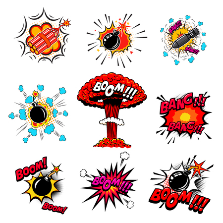 Set of comic style bombs, dynamite, explosions. Design element for poster, card, emblem, print, flyer, banner. Vector illustration