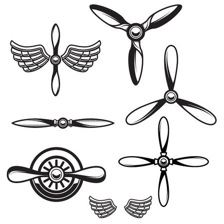 Set di eliche di aeroplani. Elemento di design per logo, emblema, segno. Illustrazione vettoriale
