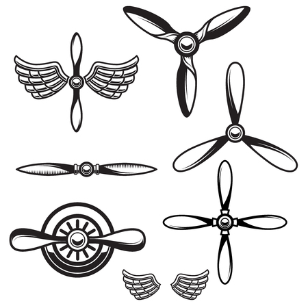 Set of airplane propellers. Design element for logo, emblem, sign. Vector illustration