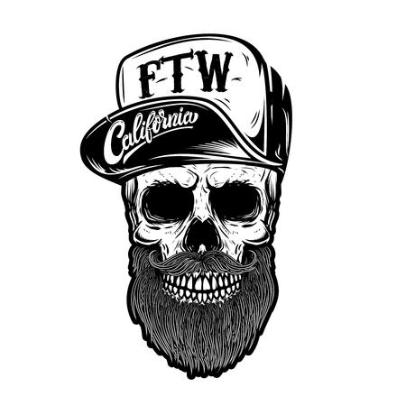 Hipster skull in baseball cap with lettering california, forever two wheels. Design element for logo, label, emblem, sign. Vector image Illustration