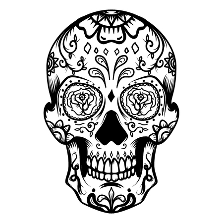Sugar skull isolated on white background. Day of the dead. Dia de los muertos. Design element for poster, card, banner, print. Vector illustration