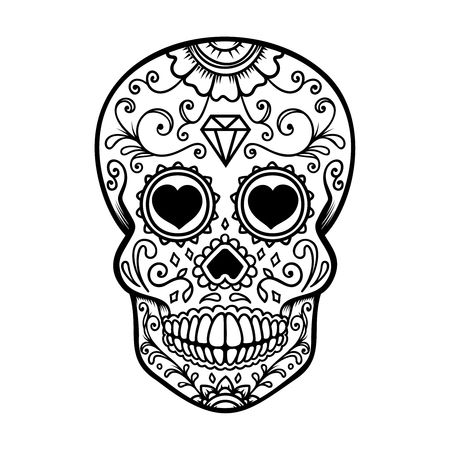 Sugar skull isolated on white background. Day of the dead. Dia de los muertos. Design element for poster, card, banner, print. Vector illustration Ilustracja