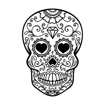 Suiker schedel geïsoleerd op een witte achtergrond. Dag van de Doden. Dia de los muertos. Ontwerpelement voor poster, kaart, banner, print. Vector illustratie