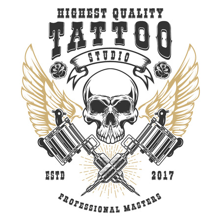 Tattoo studio poster template. Winged skull with crossed tattoo machines. Design element for logo, label, emblem, sign, poster. Vector illustration Illustration