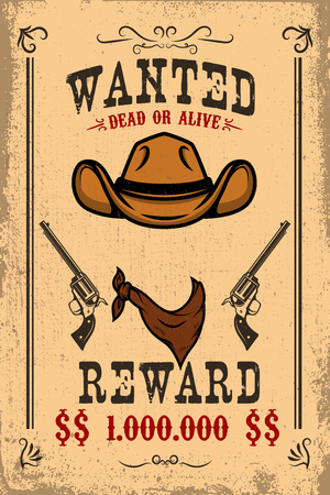 Vintage wanted poster template with old paper texture background. Wild west theme. Vector illustration