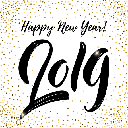 happy new year 2019. Lettering phrase on white background with golden sparks. Design element for poster, card, banner, flyer. Vector illustration