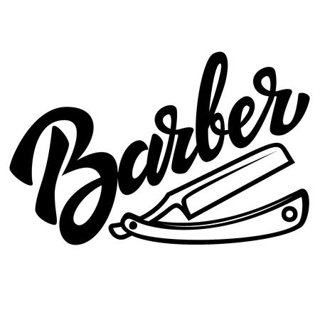Barbier. Schriftzug mit Rasiermesserillustration auf weißem Hintergrund. Gestaltungselement für Plakat, Druck, Emblem, Zeichen, Banner, Etikett. Vektorbild Vektorgrafik