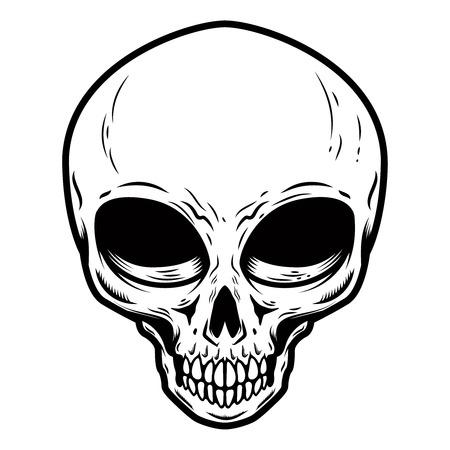 Illustration of alien skull isolated on white background. Design element for poster, card, banner, t shirt. Vector image