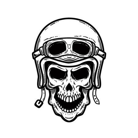 Biker skull in helmet isolated on white background. Design element for poster, card, banner, t shirt. Vector image Ilustração