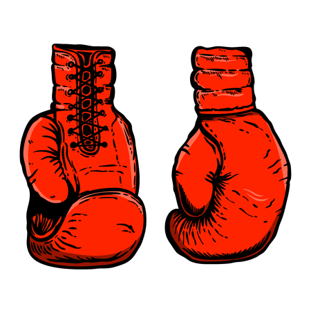 Hand drawn illustration of boxing gloves. Design element for poster, card, t shirt, emblem, sign. Vector illustration