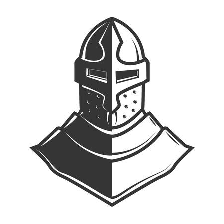 Retro style knight helmet isolated on white background. Design element for logo, label, sign, poster, menu. Vector illustration