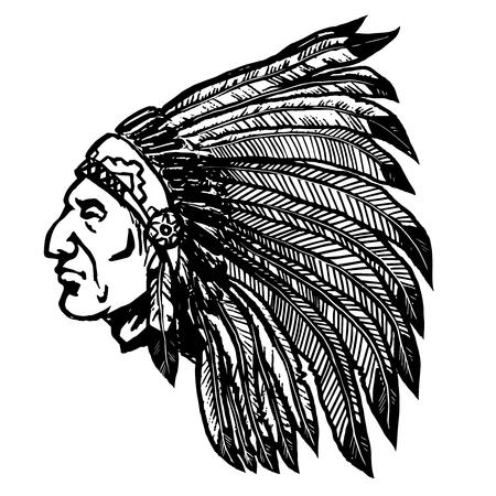 Capo nativo americano isolato su sfondo bianco. Elemento di design per logo, etichetta, segno, poster, menu. Illustrazione vettoriale