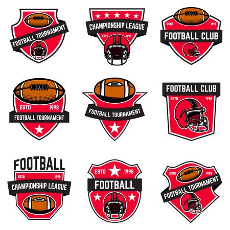 Zestaw emblematów futbolu amerykańskiego Ilustracje wektorowe