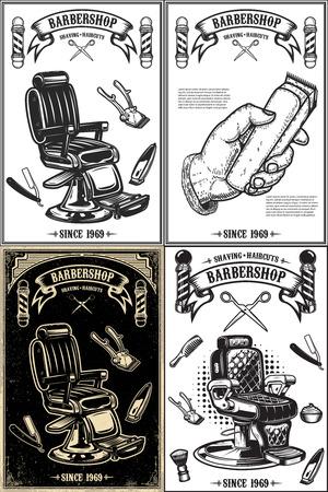 Set of barber shop poster templates. Design element for logo, label, emblem, sign, poster. Vector illustration