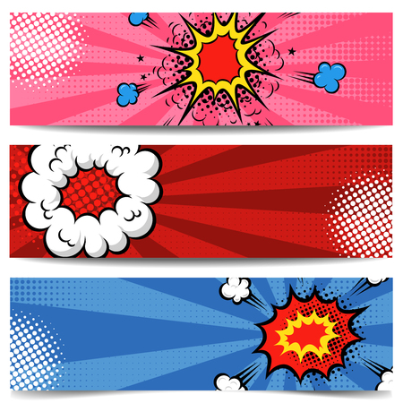 Set of pop art style banners. Comic style flyers. Vector illustration Ilustração