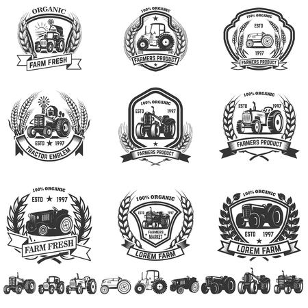 Set of emblem with tractors