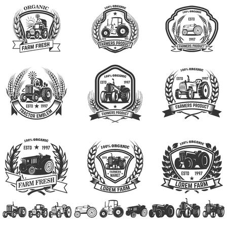 Set di emblema con trattori