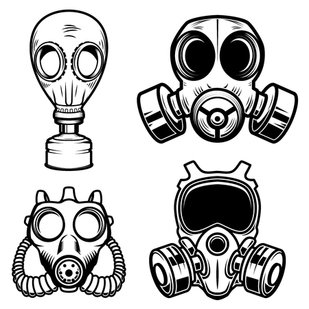 Set of gas masks isolated on white background. Design element for logo, label, sign, poster, menu. Vector illustration Çizim
