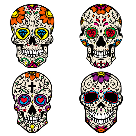Set of colorful sugar skull isolated on white background. Day of the dead