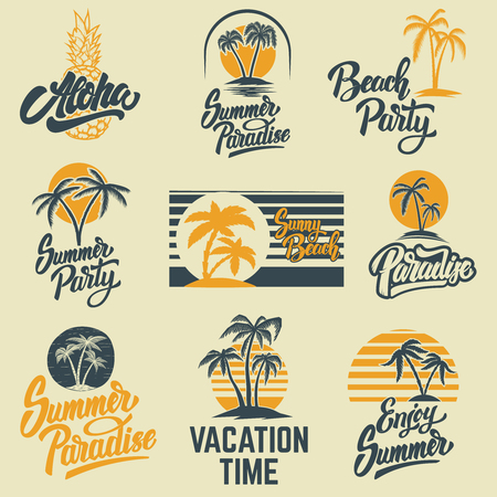Set of summer emblems with palms