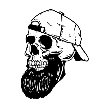 Bearded skull in baseball cap. Design element for emblem,poster, card, t shirt. Vector illustration Illustration
