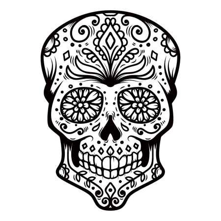 Sugar skull isolated on white background. Day of the dead. Dia de los muertos. Design element for poster, card, banner, print. Vector illustration Archivio Fotografico - 114912329