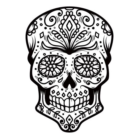 Sugar skull isolated on white background. Day of the dead. Dia de los muertos. Design element for poster, card, banner, print. Vector illustration Foto de archivo - 114912329