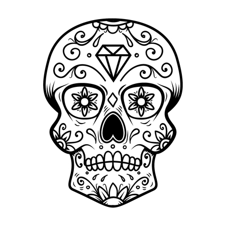 Sugar skull isolated on white background. Day of the dead. Dia de los muertos. Design element for poster, card, banner, print. Vector illustration 矢量图像