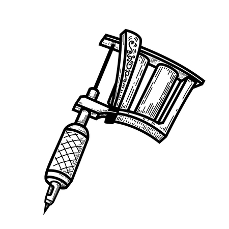 tattoo machine illustration in engraving style. Design element for logo, label, emblem, sign, badge. Vector image