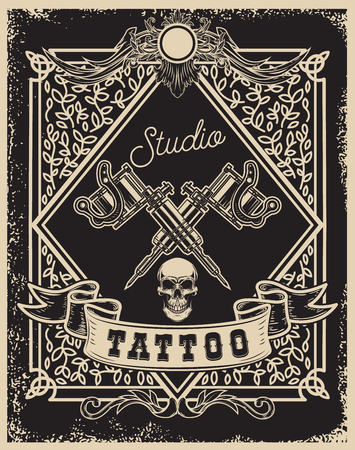 Tattoo studio poster template. Crossed tattoo machines with skull. For poster, print, card, banner. Vector image