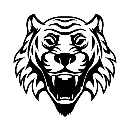 Tiger head illustration. Design element for logo, label, emblem, sign, badge. Vector image