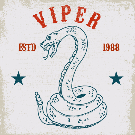 Viper snake illustration on grunge background. Design element for poster, card, t shirt, emblem. Vector image Иллюстрация