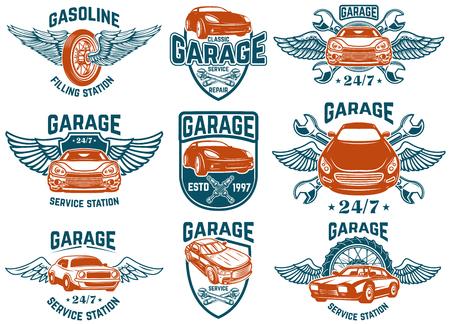 Reparación de automóviles, garaje, emblemas de servicio automático. Elementos de diseño de logotipo, etiqueta, letrero. Imagen vectorial