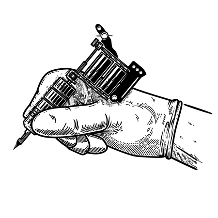 Hand with tattoo machine. Design element for poster, card, t shirt, emblem, sign. Vector illustration