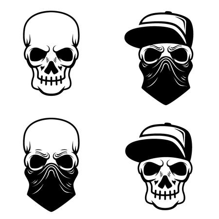 Crâne de gangster avec casquette de baseball et bandana. Élément de design pour logo, étiquette, emblème, signe, t-shirt. Illustration vectorielle