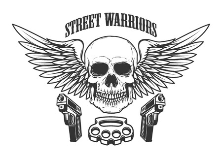 Winged skull with handguns. Design element for logo, label, emblem, sign, t shirt. Vector illustration
