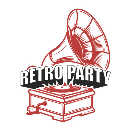 Retro party. Emblem template with retro gramophone. Design element for badge, poster, card. Vector illustration