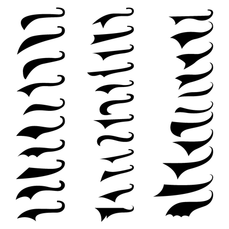 set of retro typography text tails. element for poster,sign, t shirt. vector illustration